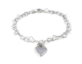 Sterling Silver Linked Hearts Bracelet