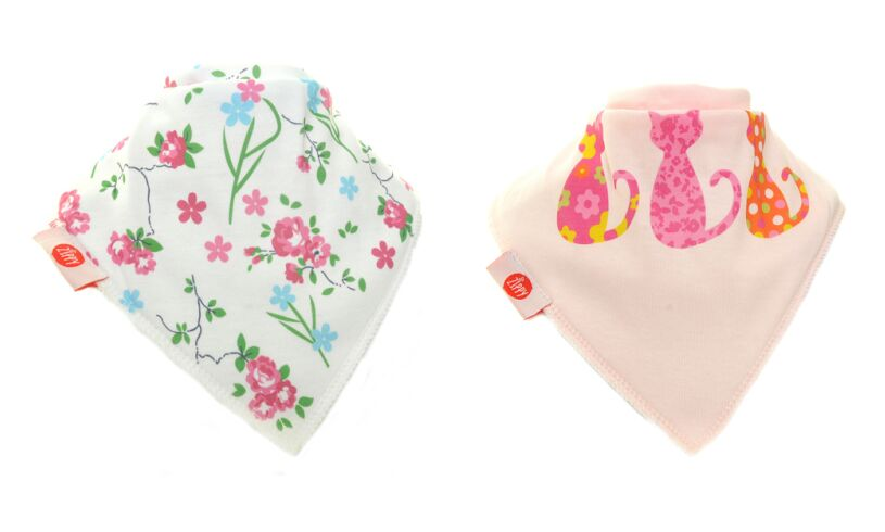 Fun Bandana Bibs Flowers and Cats