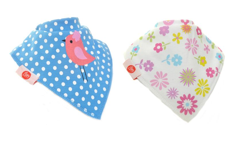 Fun Bandana Bibs Birds and Flowers