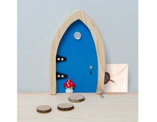 BLUE Magical Wooden Fairy Door - Believe!