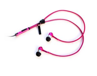 Pink Zip Earphones