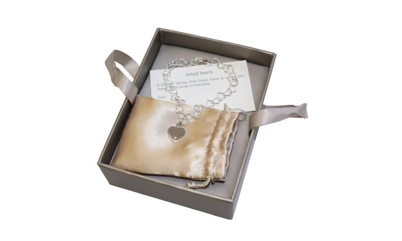 Sterling Silver Linked Hearts Bracelet Packaging