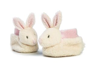 Ragtales Baby Booties - Cream & Pink