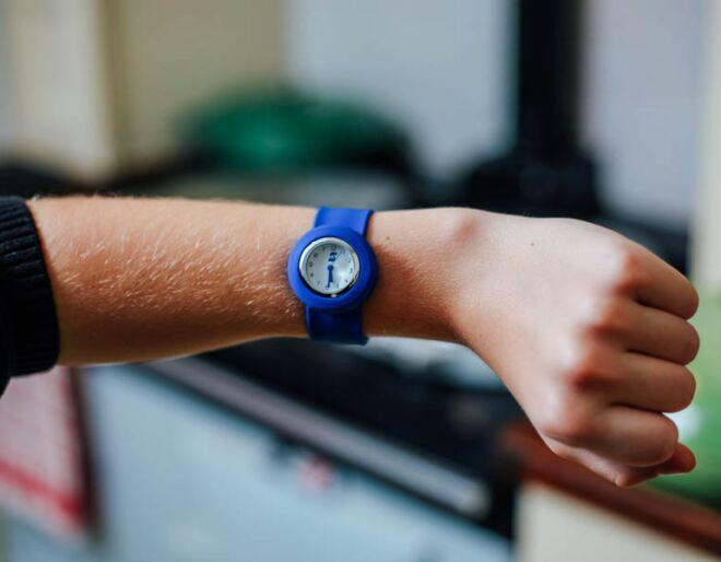 Blue Slappie Watch on arm