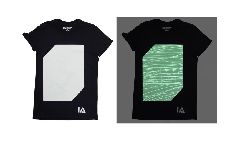 Black Interactive Glow T-Shirt in dark