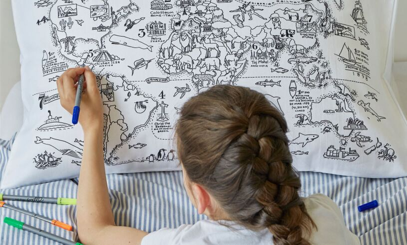World Map Pillowcase lifestyle