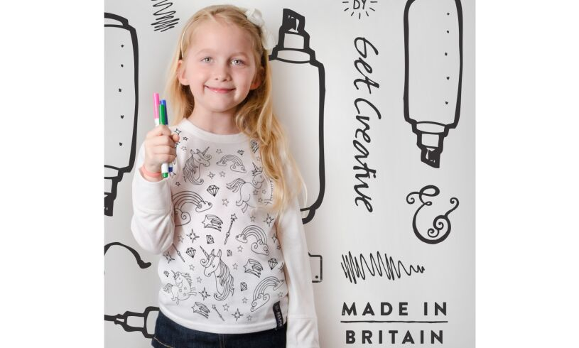 Colour in UNICORN top with fabric pens