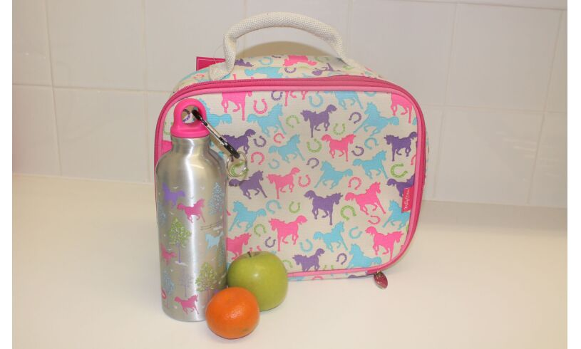 Milly Green Playful Ponies Lunch Bag & Drink Bottle