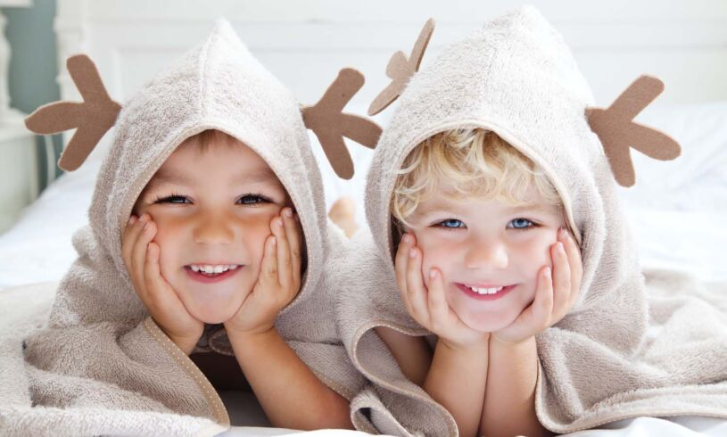 Cuddledeer toddler bath towel lifestyle
