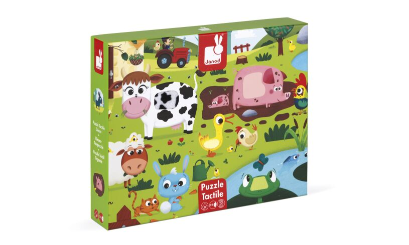 Janod Tactile Farm Animal Floor Puzzle Box