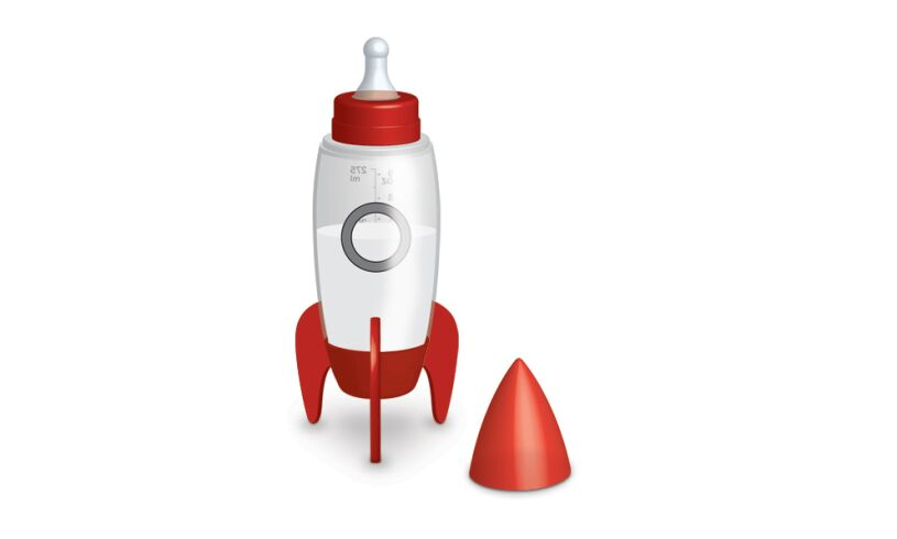 Bubblegum Space Rocket Baby Bottle