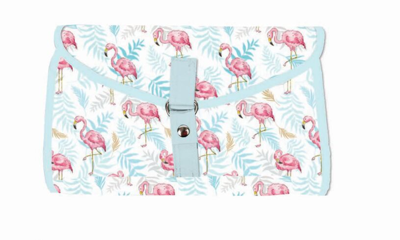 Milly Green flamingo folding wash bag
