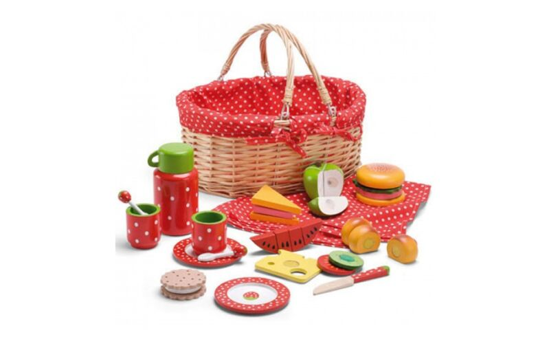 Picnic Basket Wooden Food