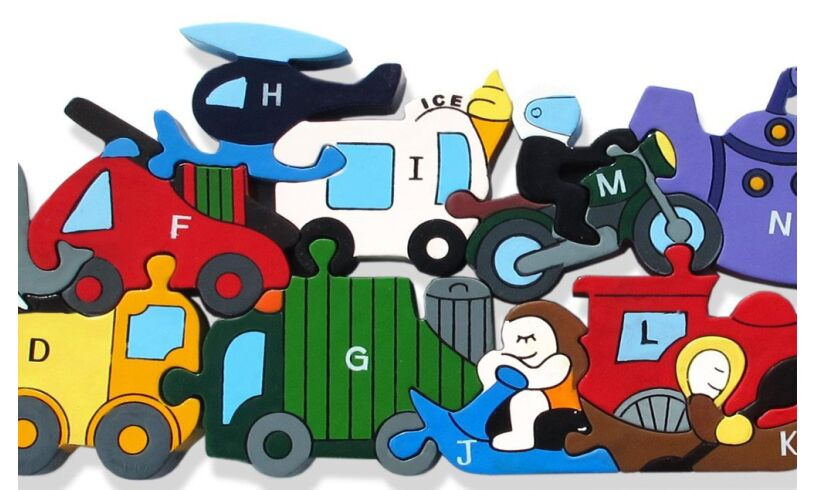 Alphabet Transport Jigsaw Puzzle Close up