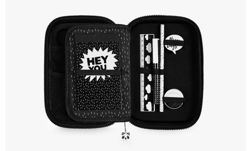 Panda Hard Top Pencil Case Open