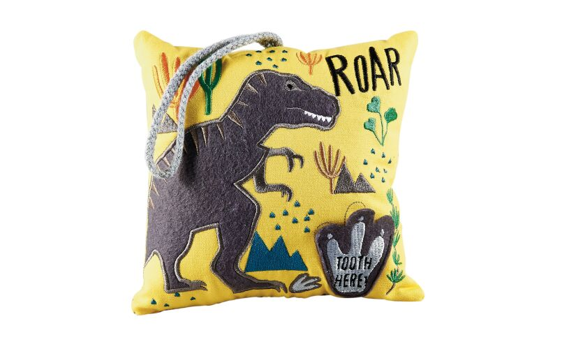 Floss and Rock dinosaur tooth fairy cushion