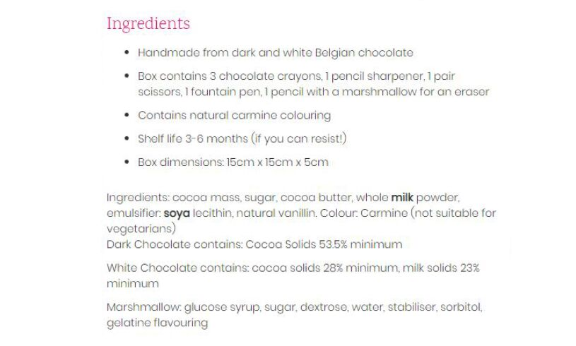 Chocolate Stationery Ingredients