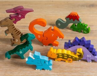 Dinosaur Row Wooden Number Puzzle