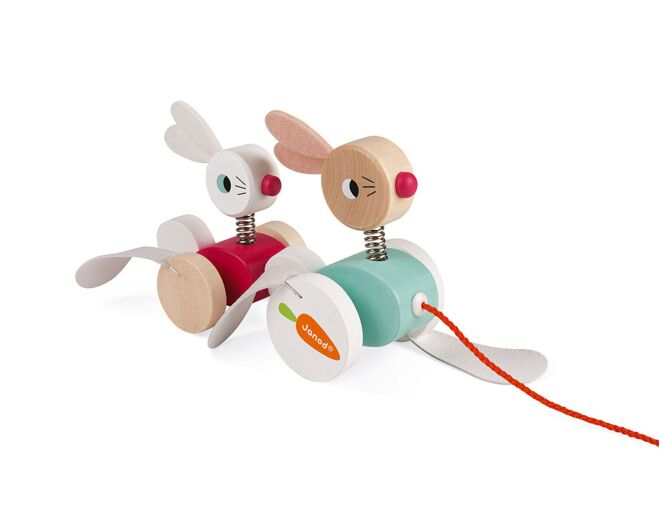 Janod Pull Along Wooden Rabbits