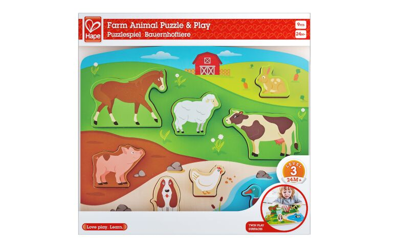 Hape Farm Animal Puzzle and Play Set