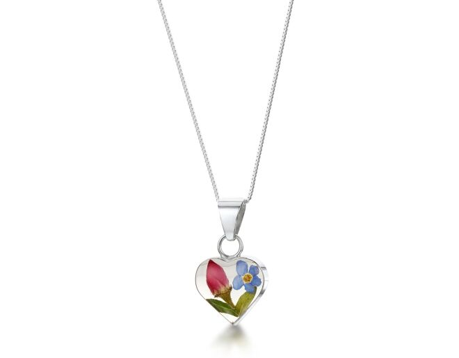 Mixed Flower Heart Pendant