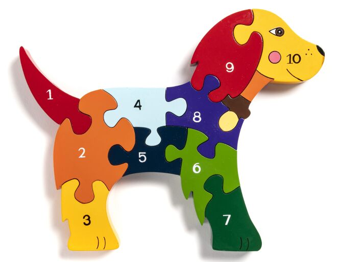 Wooden Dog Number Jigsaw