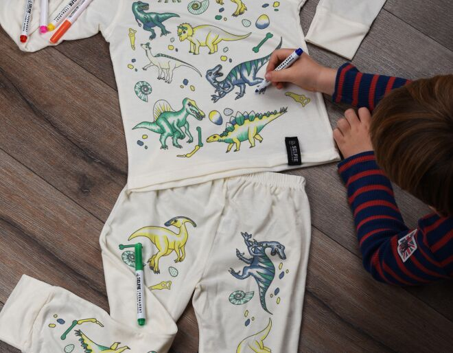 Dinosaur Colour In Pyjamas