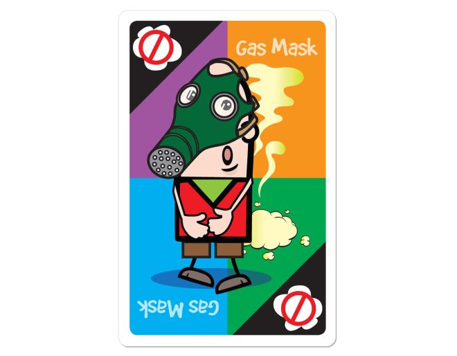 Fart card game gas mask