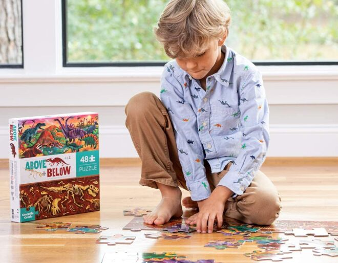 Above and below dinosaur puzzle